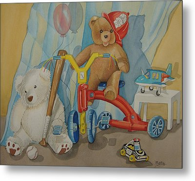 Teddy On A Bike Metal Print