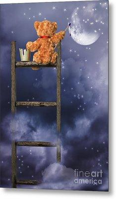 Teddy Painting At Night Metal Print