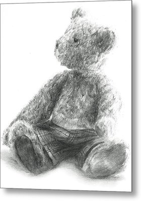 Metal Print featuring the drawing Teddy Study by Meagan  Visser