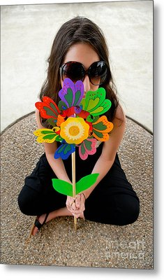 Teenage Girl Hiding Behind Toy Flower Metal Print by Amy Cicconi