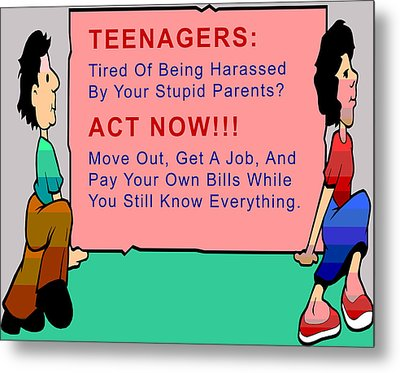 Teenagers Act Now Metal Print by Barbara Snyder