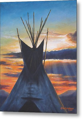 Metal Print featuring the painting Teepee At Sunset Part 1 by Kim Lockman