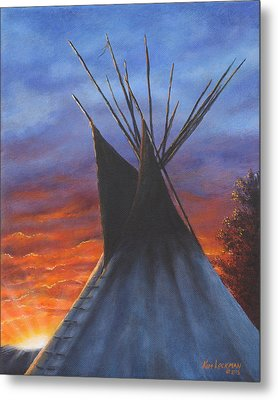 Metal Print featuring the painting Teepee At Sunset Part 2 by Kim Lockman