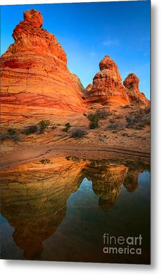 Teepee Reflection Metal Print by Inge Johnsson