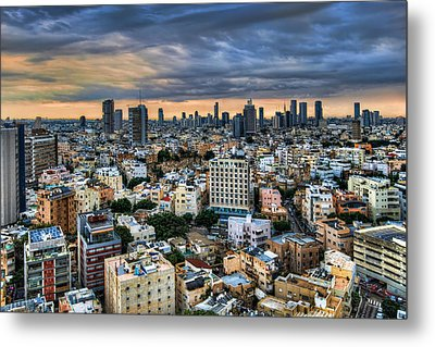 Metal Print featuring the photograph Tel Aviv Skyline Winter Time by Ron Shoshani