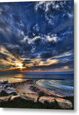 Metal Print featuring the photograph Tel Aviv Sunset At Hilton Beach by Ron Shoshani