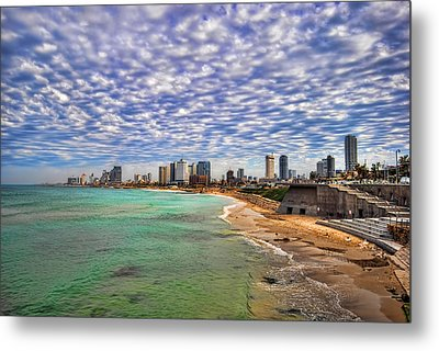 Metal Print featuring the photograph Tel Aviv Turquoise Sea At Springtime by Ron Shoshani