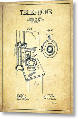 Telephone Patent Drawing From 1898 - Vintage Metal Print