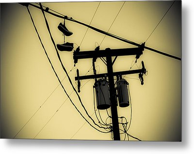 Telephone Pole And Sneakers 1 Metal Print by Scott Campbell
