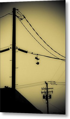 Telephone Pole And Sneakers 3 Metal Print by Scott Campbell