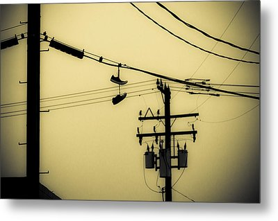 Telephone Pole And Sneakers 4 Metal Print by Scott Campbell