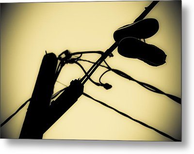 Telephone Pole And Sneakers 6 Metal Print by Scott Campbell