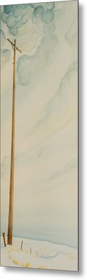 Metal Print featuring the painting Telephone Pole by Scott Kirby