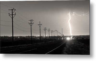 Telephone Poles Black And White Sepia Metal Print by James BO  Insogna