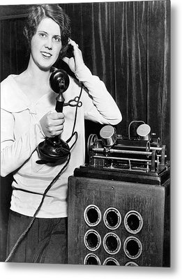 Telephone Recording Device Metal Print by Underwood Archives