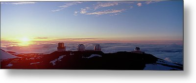Telescopes On Mauna Kea At Sunset Metal Print by Panoramic Images