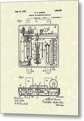 Temperature Regulator 1925 Patent Art Metal Print by Prior Art Design