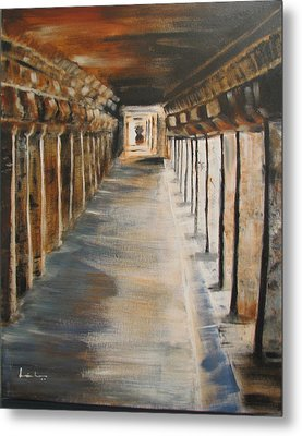 Metal Print featuring the painting Temple Aisle-mandapam by Brindha Naveen