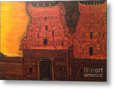 Metal Print featuring the painting Temple At Dawn 2 by Brindha Naveen