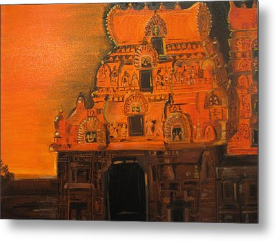 Temple At Dawn Metal Print by Brindha Naveen