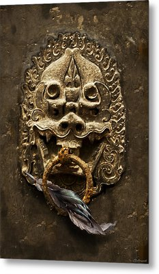 Temple Guardian With Feather Metal Print by Larry Butterworth