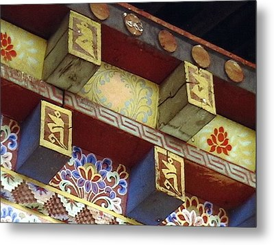 Metal Print featuring the painting Temple In Bhutan by Patrick Morgan