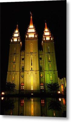 Temple In Salt Lake City Metal Print by Jeff Swan