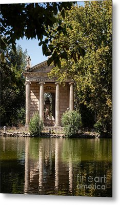 Temple Of Aesculapius And Lake In The Villa Borghese Gardens In  Metal Print