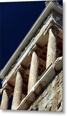 Temple Of Athena Nike Columns Metal Print by John Rizzuto