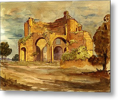 Temple Of Minerva Rome Metal Print by Juan  Bosco