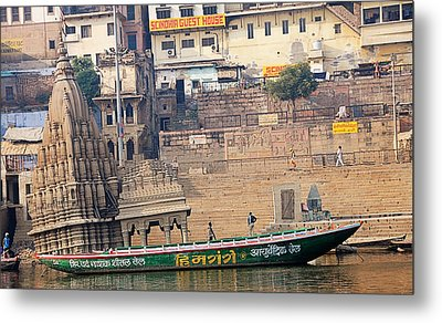 Temple On Boat Metal Print by Money Sharma
