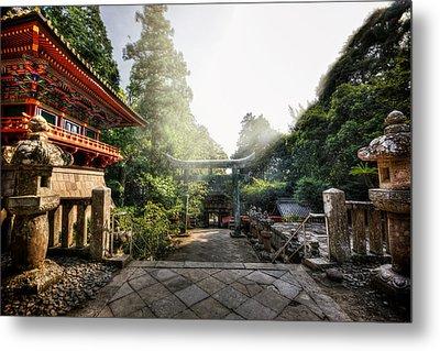 Temple Pathway Metal Print