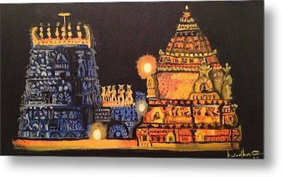 Metal Print featuring the painting Templelights by Brindha Naveen