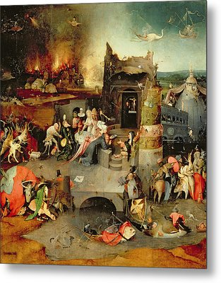 Temptation Of Saint Anthony Centre Panel  Detail Metal Print by Hieronymus Bosch