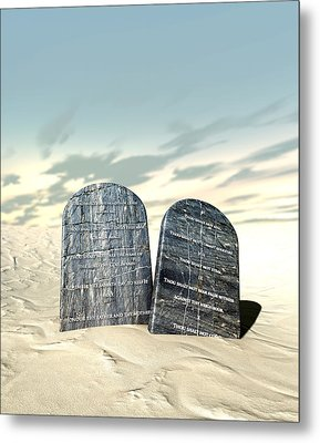 Ten Commandments Standing In The Desert Metal Print