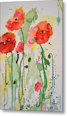 Tender Poppies - Flower Metal Print by Ismeta Gruenwald