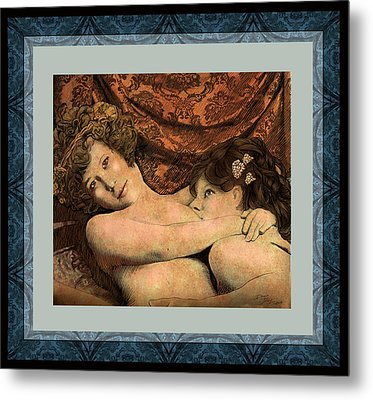 Tenderness In Blues And Red Metal Print by Dan Terry