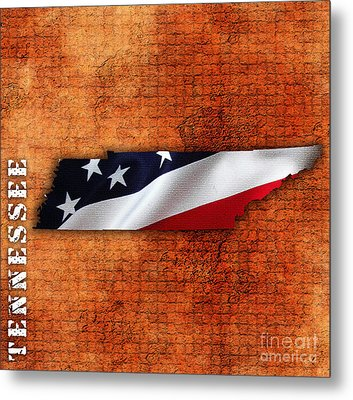 Tennessee American Flag State Map Metal Print by Marvin Blaine