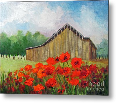 Tennessee Barn With Red Poppies Metal Print