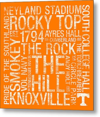 Tennessee College Colors Subway Art Metal Print
