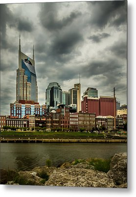 Tennessee - Nashville From Across The Cumberland River Metal Print