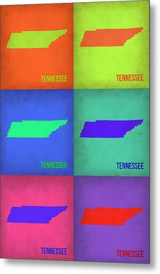 Tennessee Pop Art Map 1 Metal Print
