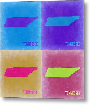 Tennessee Pop Art Map 2 Metal Print
