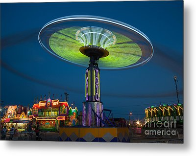 Tennessee State Fair Rides At Night I Metal Print