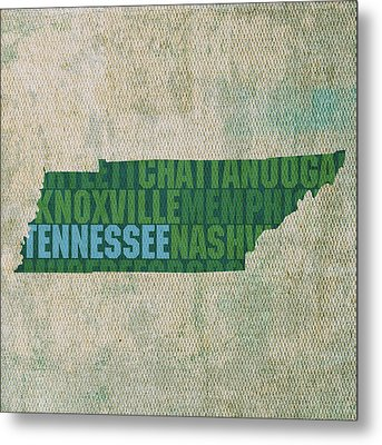 Tennessee Word Art State Map On Canvas Metal Print by Design Turnpike
