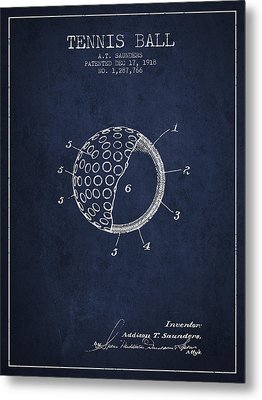 Tennis Ball Patent From 1918 - Navy Blue Metal Print