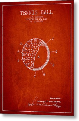 Tennis Ball Patent From 1918 - Red Metal Print by Aged Pixel