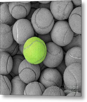 Tennis Balls Background Texture Metal Print