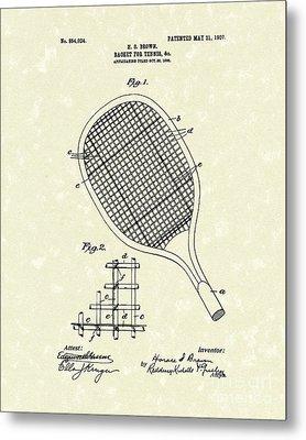Tennis Racket 1907 Patent Art Metal Print by Prior Art Design