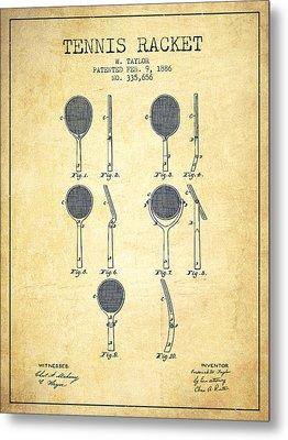 Tennis Racket Patent From 1886 - Vintage Metal Print